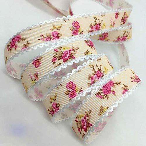 5Y 1.5 - 2.5cm Cinta en relieve con estampado de flores para manualidades hechas a mano Pascua Fiesta de matrimonio Álbum de recortes Deco Regalo Embalaje floral-China, UR174-1 (2.5cm), 5 yardas