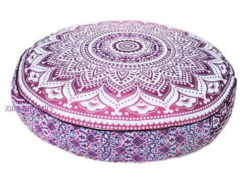 GDONLINE - Funda para cojín de Suelo de Yoga Bohemio con Mandala India de Color Rosa, 35 x 35 cm, Funda de Almohada de meditación, 100% algodón, Hecha a Mano, diseño orgánico