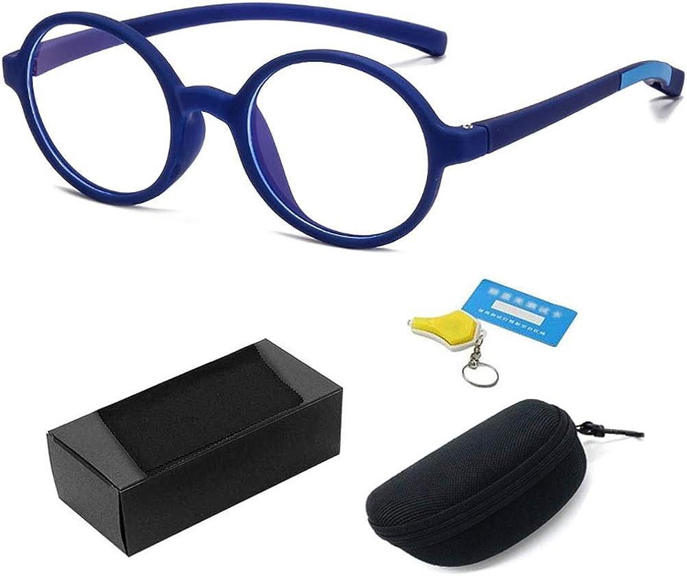 Gafas Luz Azul Para Niños Azul Filtro Reduce Fatiga Visual Para Funda de Gafas, Redondo Anteojos Ordenador Eyewear Bloqueo Luz Azul Gafas Computadora Ordenador, Monturas de Gafas Para Niña Chico