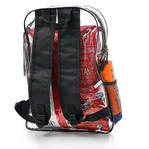 Vinyl Security Clear Bag Stadium Approved Lunch Transparent Backpack Bookbag Travel Rucksack with Black Trim Adjustable Straps & Mesh Side