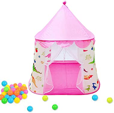 Playhouse for Kids Pink Dinosaur Themed Tent Foldable Pop Up Castle Tent Indoor Outdoor Cartton Animal Play Tent For Girls/Boys/Infant(Pink)