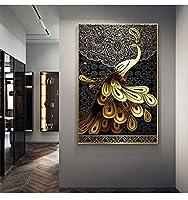 キャンバス絵画リビングルーム壁アートゴールデンピーコック写真ブラックパターンHDプリントテールクジャクポスター家の装飾60x90cmフレームなし