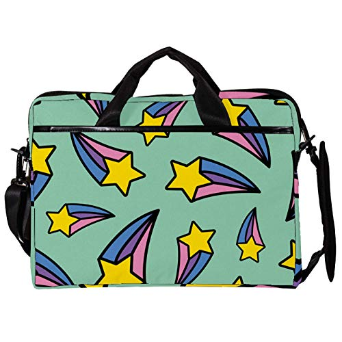 Unisex Computer Tablet Satchel Bag,Lightweight Laptop Bag,Canvas Travel Bag,13.4-14.5Inch with Buckles Rainbow Yellow Shooting Star Green