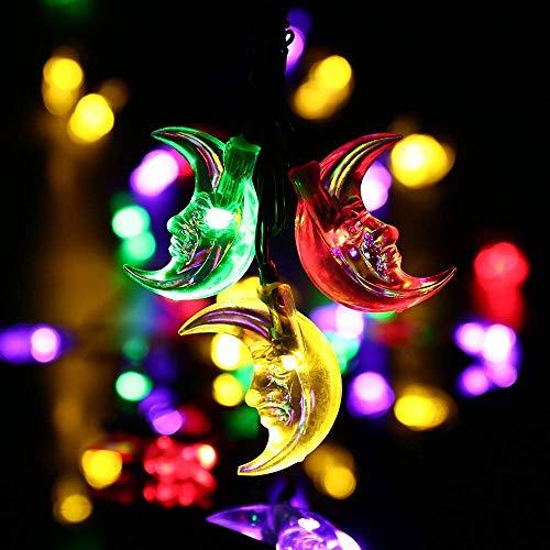 Solar String Lights,20ft 30LED Ramadan Moon Fairy Decorative Solar Lights for Halloween,Christmas Outdoor,Garden,Home,Wedding,Party and Holiday Decor [Multi-Color]