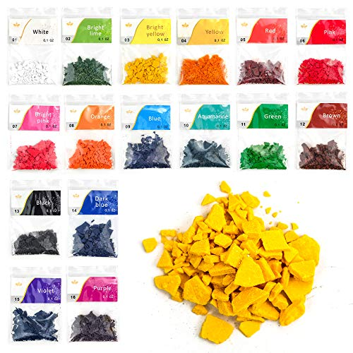 SCENTORINI Candle Dyes, Soy Candle Color Dyes, Wax Dyes for Candle Making, Color Chips for Candle Making, Wax Dye Flakes, 16 Color Candle Dyes, Each 0.1 oz