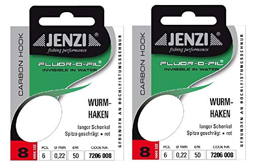 Juego de 2 paquetes de anzuelos de fluorocarbono, tamaño 8, 0,22 mm, 50 cm, tamaño del anzuelo: 8