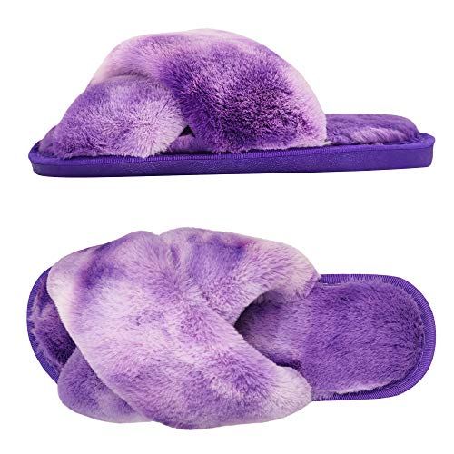 S.CHARMA Warme Damen-Hausschuhe, flauschige Hausschuhe, warm, bequem, offener Zehenbereich, Batikfärbung, Outdoor- und Indoor-Schuhe Gr. 34, violett