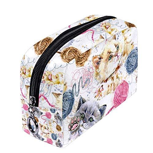 Shiiny Trousse de maquillage en forme de chaton en laine pour femme, petite trousse de maquillage, sac de voyage, sac de toilette étanche multifonction portable
