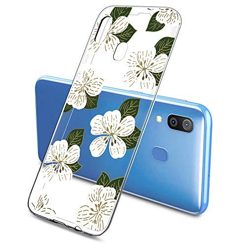 Oihxse Funda Compatible con Samsung Galaxy J5 Prime/ON5 2016, Carcasa Silicona Transparente TPU Ultra Hybrid Protector Flexibilidad Gel Flores de Cerezo Romance Dibujos Diseño(Flores A5)
