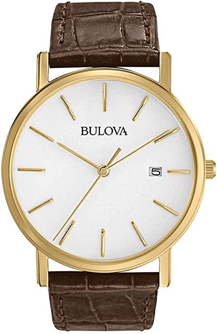 Bulova Men's Quartz Watch Leather Strap analog Display and Leather Strap, 97B100