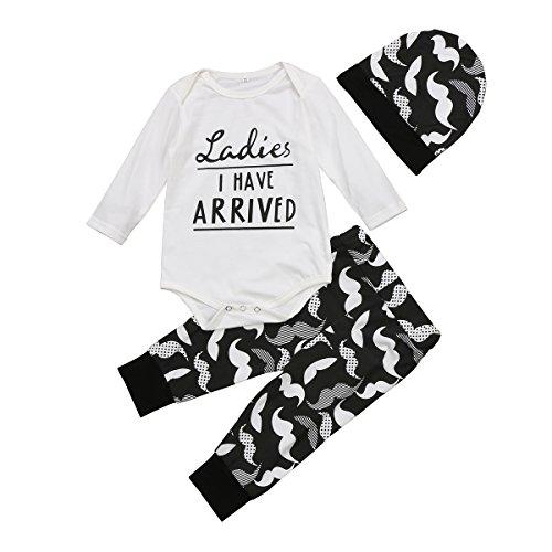 Aliven 3Pcs/Set Newborn Baby Girl Boy Striped Long Sleeve Tops Pant Hat...