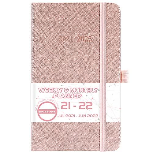 2021-2022 Pocket Planner/Calendar - Weekly & Monthly Pocket Planner from July 2021 - June 2022, 6.3'' ×3.8'', Agenda Planner with Pen Holder, Elastic Closure, Printed Tabs and Inner Pocket