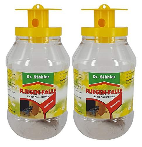 Dr. Stähler 001335 Biologische Fliegenfalle für Terrassen, Garten oder Balkon mit Langzeitwirkung, 2 Stück