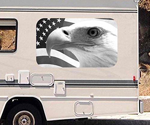 3D Autoaufkleber Adler USA Flagge Fahne US Eagle schwarz weiß Wohnmobil Auto Fenster Motorhaube Sticker Aufkleber 21A155, Größe 3D sticker:ca. 120cmx73cm