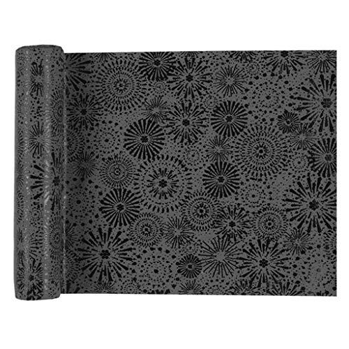 Santex tafelloper vuurwerk 28 cm x 3 m grijs tafelband decoratieve stof tafeldecoratie