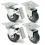Saver 4pcs 50mm Heavy Duty Gummi Schwenkrollen Trolley Caster Brems -