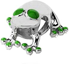 Jovana Sterling Silver Lucky Frog Charm with Green Enamel, Fits Pandora Bracelet