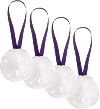 "Sand Dollar Ornaments | Natural Sand Dollars 3"" with Purple Colored Ribbon 