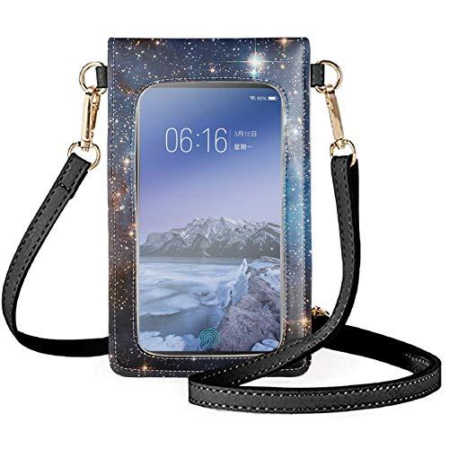 HUGS IDEA Cartera pequeña con diseño divertido de animales galaxia colorida impresa ligera y ligera con 2 correas para el hombro, elegante bolsa para teléfono celular para mujer