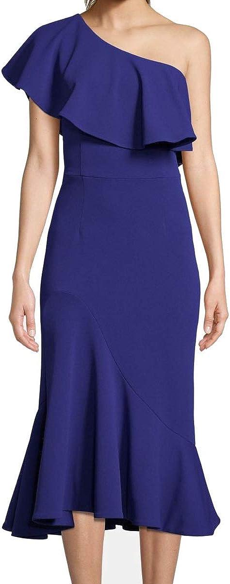 Betsy & Adam Womens Crepe Ruffled Midi Dress