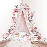 decalmile Rosa Rosas Flores Pegatinas de Pared Vinilos Decorativos Dormitorio Salón Mural Decoración (2 Pack)