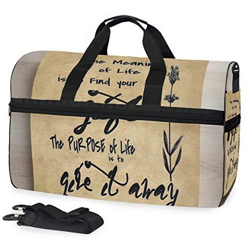 Picasso Sinn des Lebens mit inspirierendem Zitat der Blume Große Reise-Seesack-Einkaufstasche Wochenenden-Übernachtreisetasche Sporttasche Eignungssporttasche mit Schuhfach