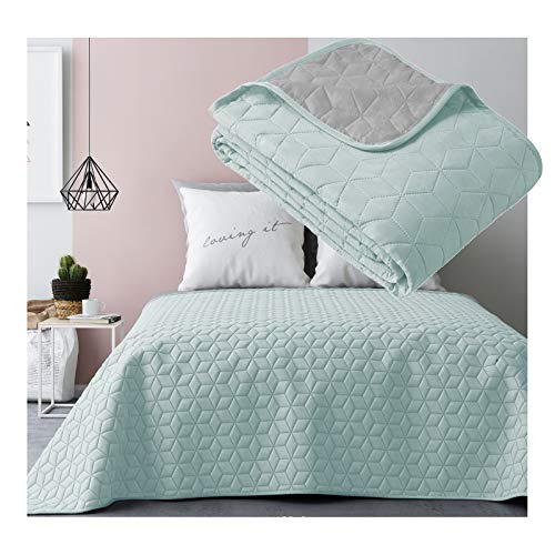 JEMIDI Tagesdecke 200cm x 220cm Bettüberwurf Bettüberwurf Sofaüberwurf Bett Decke gesteppt Tages Tagesdecken Betthusse (Mint/Grau Raute)