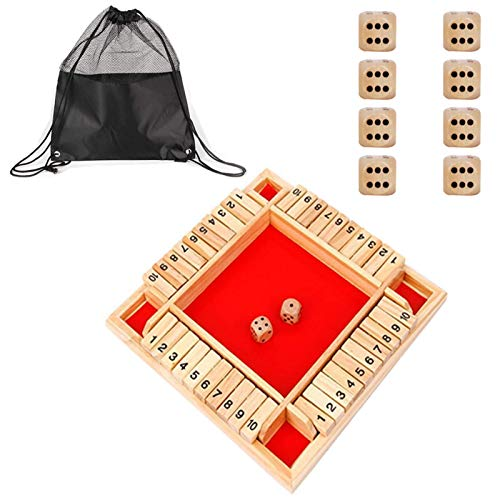 Joyhoop Shut The Box Dice Game Classico Gioco da Tavolo in Legno a 4 Lati con Dadi Famiglia Gioco di Matematica Giocattolo da Tavolo di Natale per Bambini e Pub Gioco da Tavolo per Adulti Rosso