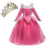 NNDOLL Aurora Principessa Vestito Sleeping Beauty Costume Bambina Carnevale Abito Partito Ragazza Cerimonia (Rosa 150/ 7 - 8 Anni)