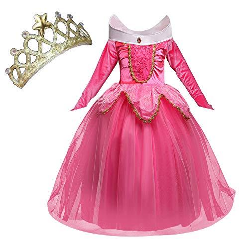 NNDOLL Aurora Principessa Vestito sleeping beauty Costume bambina carnevale abito Partito Ragazza Cerimonia (rosa 140/5-6 anni)