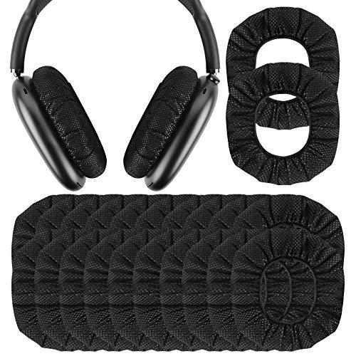 Geekria 100 pares de fundas desechables para auriculares AirPod Max, fundas para auriculares, fundas para auriculares, fundas higiénicas, elásticas, para auriculares de 8,4 a 10,33 cm, color negro
