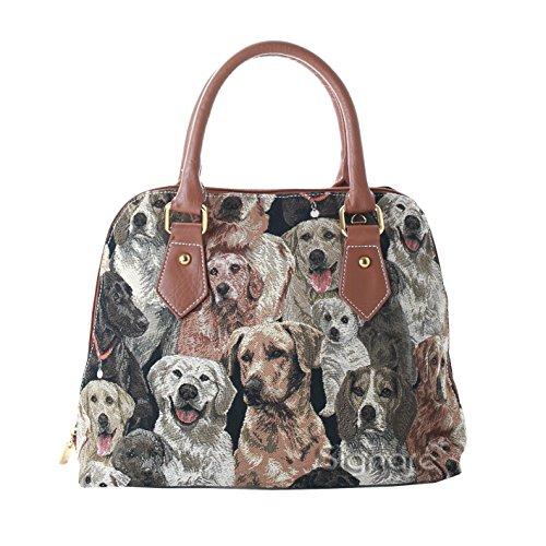 Mittelgroße Handtasche/Schultertasche für Damen (Hunde) – im Gobelin Stil