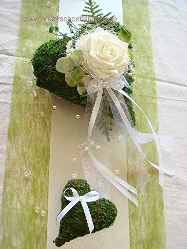 unser schönster Tag Tischdekoration grün zur Hochzeit Tischdeko TD0013A 2 Moosherzen