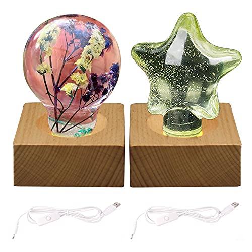 CDIYTOOL Base de exhibición de las luces LED, base de madera del soporte de la exhibición del LED, disponible para el arte del vidrio de los cristales de la bombilla