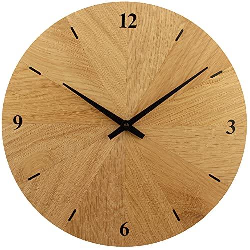 EDER Wanduhr Holz, Eiche Natur Massivholz, besteht aus 12 Dreiecken, sehr leises Junghans Quarz Uhrwerk, 30 cm rund modern, Holzuhr Wand, Design, Qualitätsprodukt, handgemacht in Österreich, exklusiv