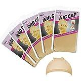 ITME 10 piezas de gorro de peluca de nylon, gorro de peluca de color beige natural, gorro de peluca de nylon de tejido elástico y fino, red de pelo elástico bajo la peluca