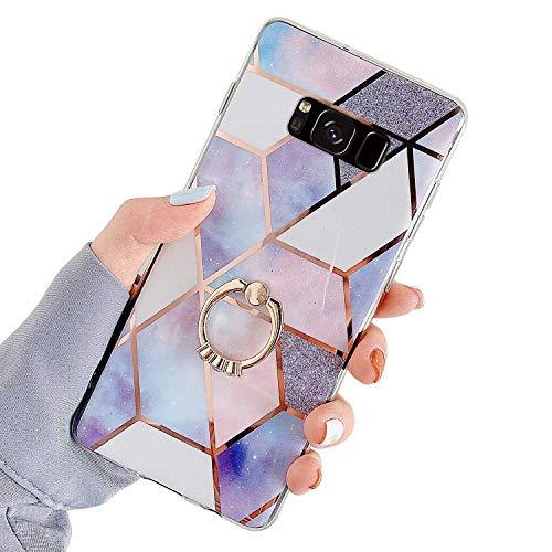 MoreChioce Hülle kompatibel mit Samsung Galaxy S8 Marmor Hülle Bling Glitzer Paillette Weich Silikon Handyhülle mit 360 Grad Ring Ständer Flexible Hybrid Schutzhülle Transparent Bumper Lila