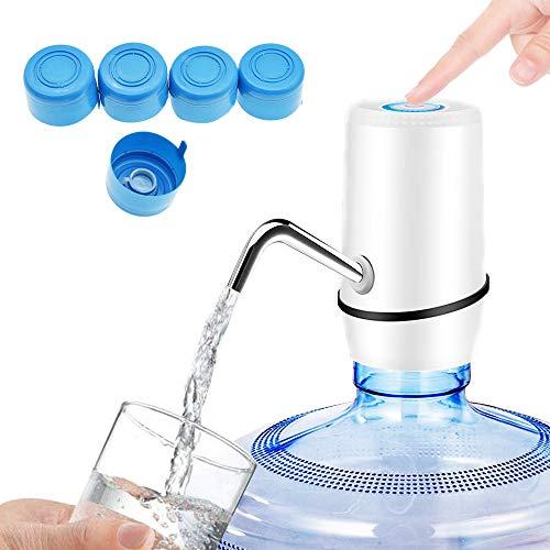 ALEENFOON Wasserflaschenpumpe Elektrischen USB Wiederaufladbar Trinkwasserpumpe, Abnehmbarer Plastik Flaschen Wasserspender Universalflasche Wasserflaschenspender mit 5 Kappen für Zuhause und Outdoor