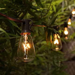 AGICLIGHT 25ft Outdoor Edison Bulb String Lights ST35 Edison Bulbs(Plus 2 Extra Bulbs), UL Listed for Indoor/Outdoor Decor, Perfect for Garden/Backyard/Pergola/Patio/Party (Black)