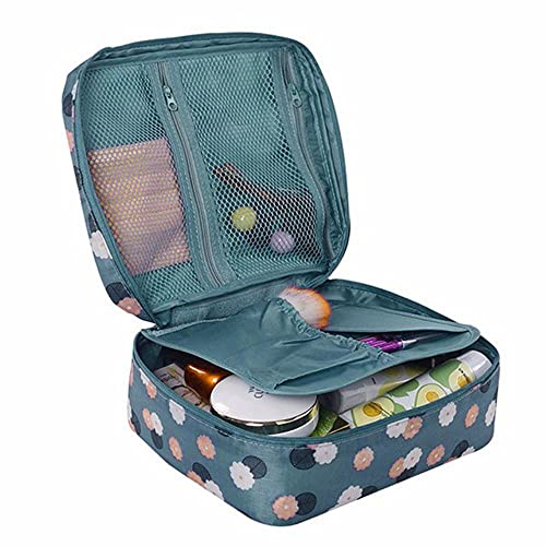 Bolsa de maquillaje para mujer de viaje con diseño de rayas, organizador de almacenamiento para colgar # 35 de alta calidad, color azul, Estados Unidos, 220 x 180 x 9 mm