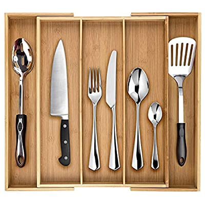 Dynamic Gear Bamboo Expandable Drawer Organizer, Premium Cutlery and Utensil Tray, Perfect for The Kitchen, Bathroom, Desk, etc. Adjustable Kitchen Drawer Divider (3 Compartments Expandable)