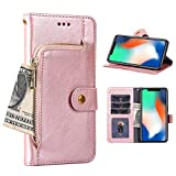 Asuwish Xiaomi Redmi Note 8 Case Wallet for Women Girl Redminote8 note8case 8case Phone Cases with Card Holder Stand Full Body Purse Xiami Mi Xiomis Xiome Redme Note8 Leather Flip Cover Pink Rose Gold