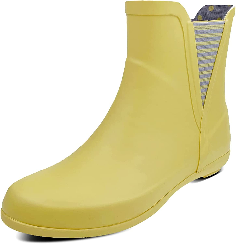 Women's Rain Boots Stylish Ankle Rubber Garden Shoes Waterproof Chelsea Non-Slip