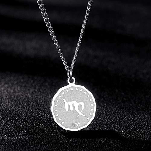 Colgante de Zodiac, Virgo redondo de acero inoxidable de plata Cool Charm Clavícula, collar de astrología para hombres, festival, regalo de cumpleaños