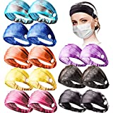 16 Pieces Tie Dye Headband with Buttons Elastic Button Headband Wide Non-slip Yoga Sports Workout Turban Headwrap Hairband for Women Men Running Travel Outdoor Activities, 8 Colors