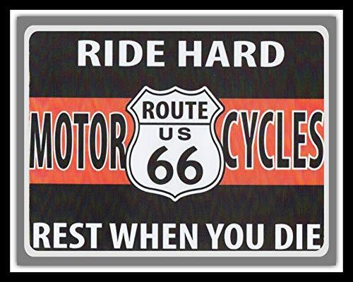 Cartel de metal de metal para motocicleta con texto en inglés 'Ride Hard Route 66' (24,5 cm x 19,5 cm)