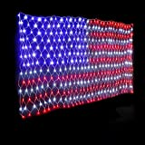 30 V LED-Lichterkette mit amerikanischer Flagge, hängende Ornamente, Gartendekoration, Netz-Lichter, Weihnachten, wasserdicht, für den Außenbereich, D30 LED-Lichterkette