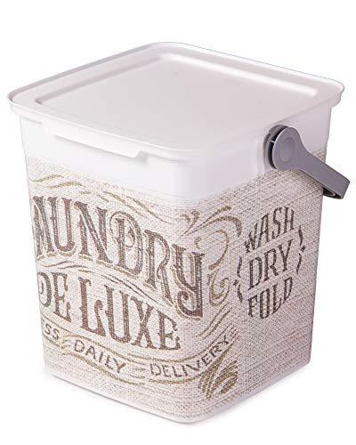 Ondis24 Waschmittelbox 9L, Waschmitteleimer leicht, Waschpulverbox tragbar, Waschmittelbehälter Henkel, Eimer mit Deckel (Deluxe)
