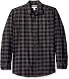 Amazon Essentials Men's Regular-Fit Long-Sleeve Plaid Flannel Shirt, Charcoal Buffalo, XX-Large