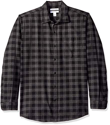Amazon Essentials Men's Regular-Fit Long-Sleeve Plaid Flannel Shirt, Charcoal Buffalo, Large